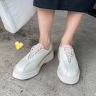 手工真皮女鞋34~39 2020新款時尚裡外全皮舒適款珍珠樂福鞋 小皮鞋 ~2色
