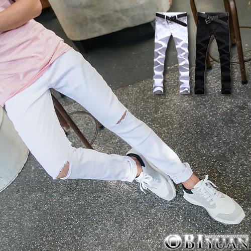 彈性刀割褲【T1611】OBI YUAN韓版水洗抽鬚破膝牛仔褲 共2色