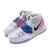 Nike 籃球鞋 Kyrie 6 EP 灰 粉紅 藍 男鞋 Irving Animal 豹紋 斑馬紋 【PUMP306】 BQ4631-003