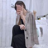 韓版薄款chic西裝寬鬆休閒格子復古西服外套長袖上衣 新品促銷
