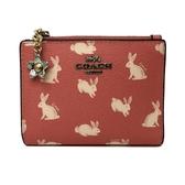 【COACH】兔子PVC皮革證件鈔票零錢袋短夾(兔子粉)