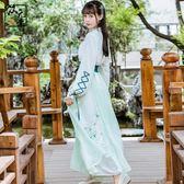漢元素古裝服裝女中國風改良清新淡雅仙女漢服日常宋褲套裝古風春【奇貨居】