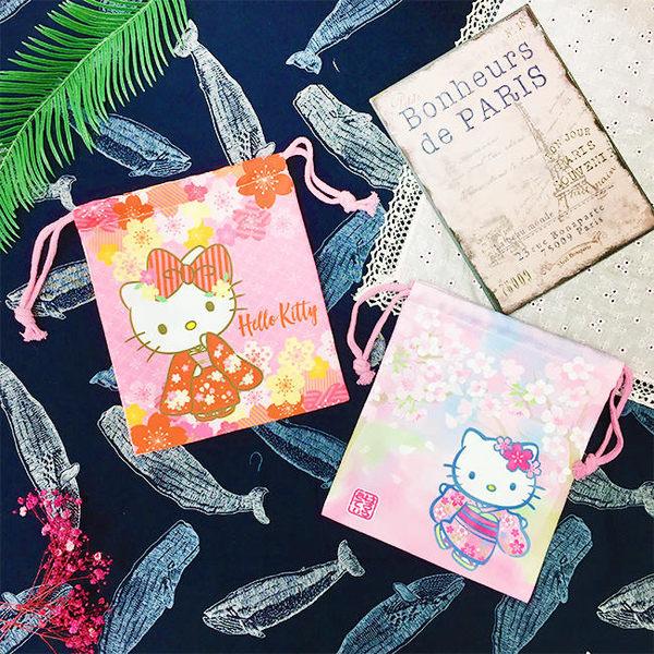 【KP】Hello Kitty 和風櫻花雙面束口袋 三麗鷗  收納袋 正版日本進口授權 DTT0522241