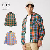 Life8- Casual 亮彩格紋 微寬長版襯衫【10206】