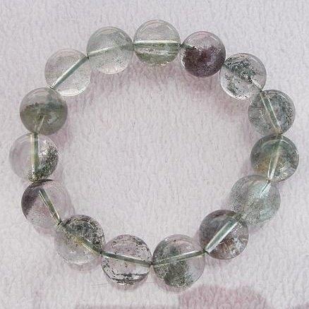 【歡喜心珠寶】【天然巴西綠幽靈水晶圓珠13.5mm手鍊】15顆.重52.5g「附保証書」超低價售出!