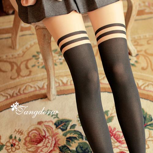 唐朵拉 熱銷日版韓系甜美清新氣質修飾美腿超顯瘦透氣輕薄膝上假大腿高捷少女貼身褲襪 (205)