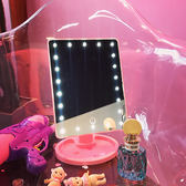 七夕節禮物-少女心LED台式觸摸屏感應方形正韓補光燈收納帶燈化妝鏡日繫學生【優惠兩天】