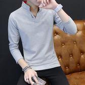 長袖T恤 男2019新款衛衣男裝長袖體恤打底衫青年polo衫上衣服【雙11快速出貨八折】