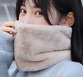 圍巾 秋冬季女士時尚圍脖針織加絨加厚護頸保暖披肩紐扣脖套女【快速出貨】