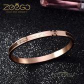 韓版鍍18K玫瑰金情侶手鐲男女一對鈦鋼彩金手環飾品情侶手鍊禮物