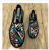 西山花布鞋男潮春夏中國風一腳蹬懶人鞋社會青年老北京開車帆布鞋貝芙莉