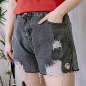 Poly Lulu 水洗刷色刷破圓環牛仔短褲-黑灰【96210056】