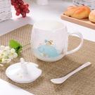 骨瓷杯 卡通超可愛萌少女水杯陶瓷杯帶蓋勺兒童骨瓷杯子牛奶咖啡馬克杯女【幸福小屋】