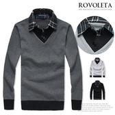 襯衫.長袖格紋假兩件設計.型男.穿搭.男裝【TJ-MY023】(ROVOLETA)