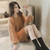 【GZ82】秋裝女裝 韓版v領毛衣洋裝 中長款長袖套頭針織衫 女寬鬆上衣