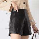 高腰皮短褲女2020年新款秋冬季寬鬆顯瘦a字闊腿大碼pu皮褲外穿【快速出貨】