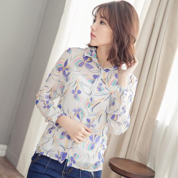 花瓣印花透視感長袖襯衫 [粉藍]  MUS15065