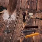 羽毛筆歐式復古英倫筆哥特體英文書法蘸水筆火漆印章禮盒 快速出貨