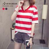 棉T--休閒氣質經典橫條紋寬鬆修身百搭V領短袖T恤(紅.藍M-3L)-T330眼圈熊中大尺碼