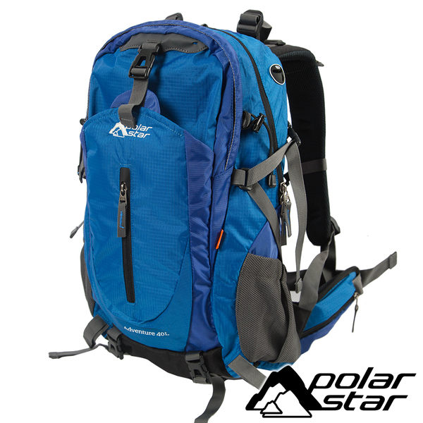 【PolarStar】透氣網架背包40L『藍』露營.戶外.旅遊.自助旅行.多隔間.登山背包.後背包 P17806