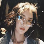 眼鏡 ins眼鏡框女網紅款韓版潮個性圓臉復古金邊大方框眼鏡有度數 99免運 萌萌