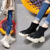 森雅誠品 襪子靴女秋冬日韓百搭學生加絨白色保暖短靴內增高厚底襪靴