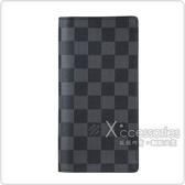 LV N62227 經典棋盤格紋 Damier Graphite 帆布造型對折長夾(黑灰)