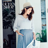 Queen Shop【01095705】滿版粉彩配色小鳥條紋V領上衣*預購*