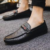 皮鞋 2019新款社會一腳蹬男鞋休閒網紅皮鞋男夏季豆豆鞋男鞋子百搭潮鞋  果寶時尚