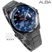 ALBA雅柏錶 極簡紳士 都會 防水錶 藍寶石水晶玻璃 不銹鋼 IP黑電鍍x藍 男錶 AS9H39X1 VJ42-X268B