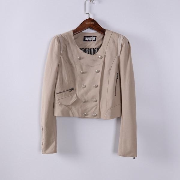 [超豐國際]拉春夏裝女裝卡其色短款修身顯瘦外套 散87448(1入)