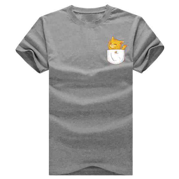 24小時快速出貨 純棉短T 台灣製【Y0034】口袋貓 男女可穿 甜蜜 KUSO 可單買  獨家款
