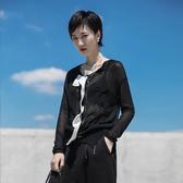 暗黑風拼色半透視休閒針織開衫/設計家