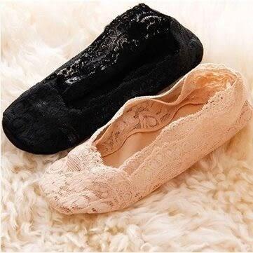 隱形襪船襪 春夏女韓國淺口蕾絲船襪短襪 冰絲不掉跟矽膠防滑襪套【B7124】