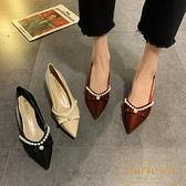 尖頭單鞋女粗跟時尚珍珠百搭淺口法式高跟鞋【繁星小鎮】