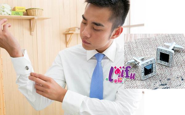 得來福,K316袖扣水鑽高質感襯衫袖扣配西裝襯衫搭,390元