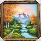 【風水油畫】山水畫1 純手繪油畫(連框)-含運價