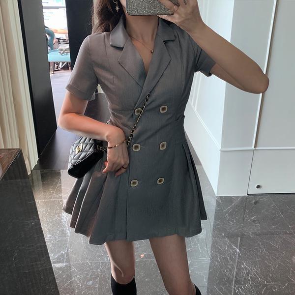 超殺29折 韓國風小西裝裙百褶收腰短袖洋裝