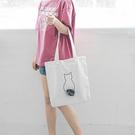 帆布袋 萌 動物 毛球 帆布袋 卡通 手提袋 環保購物袋--手提/單肩【SPC17】 BOBI  07/19