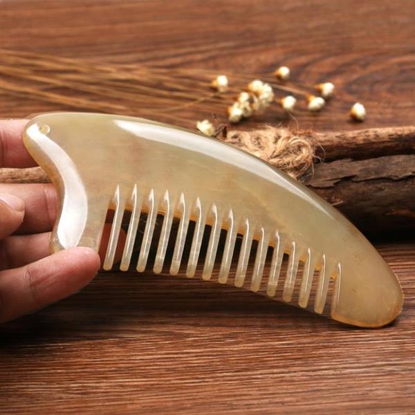 天然大號牛角梳子防靜電脫發白黃純羊角梳加厚頭部經絡按摩梳