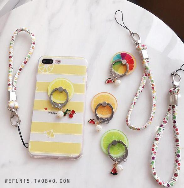 【SZ93】水果掛繩+指環支架 iPhone 8 x 7 6 HTC 三星 SONY ASUS 掛繩 繩子 吊繩 指環扣 note5 s6