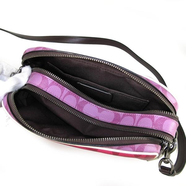 COACH 滿版LOGO PVC撞色雙層斜背包 (紫紅色)-90398