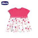 chicco-春之頌-渲染花朵拼接短袖洋裝