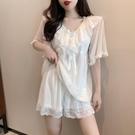 性感睡衣女夏季帶胸墊2021年新款時尚冰絲薄款可愛家居服兩件套裝 伊蘿
