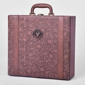 紅酒盒四支裝 紅酒皮盒 手提紅酒包裝盒高檔葡萄酒包裝禮盒子定制  【雙十二免運】