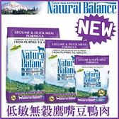 *KING WANG*Natural Balance 低敏無榖鷹嘴豆鴨肉全犬配方 狗糧12磅