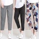 潮流女褲 新款純棉媽媽格子褲子女夏薄款條紋顯瘦哈倫褲寬鬆休閒九分蘿卜褲