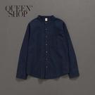 Queen Shop【01023352】中山領口袋設計棉麻襯衫 兩色售 1/2/3/4*現+預*