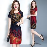 2018夏裝新款修身顯瘦中國風中長款中年復古