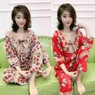 睡衣 款睡衣女夏季新款韓版洋氣短袖V領大碼胖人家居服兩件套豹紋
